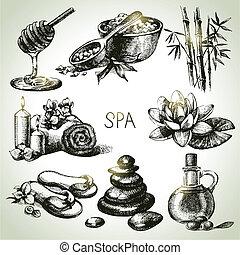 Spa, croquis, icône, ensemble, beauté,...
