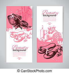 Set of spa banners Vintage hand drawn sketch vector...