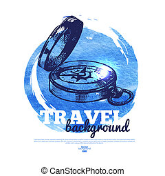 Travel vintage banner Sea nautical design Hand drawn sketch...
