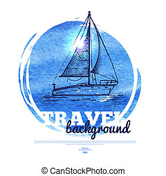 Travel tropical design banner. Hand drawn sketch and...