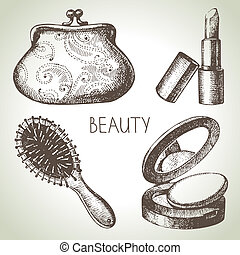 Beauty sketch icon set. Vintage hand drawn vector illustrations of cosmetics