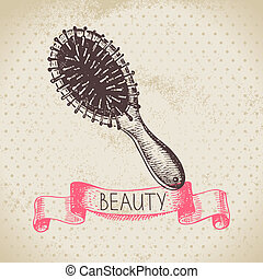 Beauty sketch background Vintage hand drawn vector...