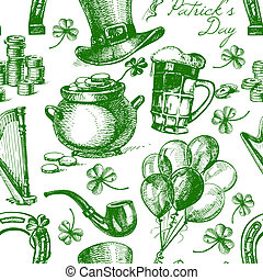 St. Patrick's Day seamless pattern with hand drawn sketch...