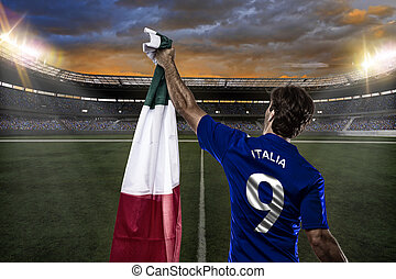 Italian soccer player, celebrating with the fans.