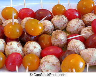 Bocconcini and cherry tomato skewer