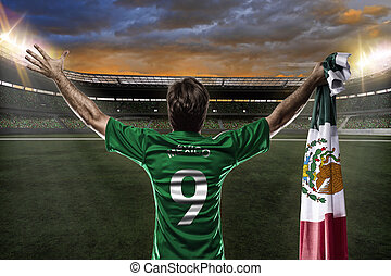 Mexican soccer player, celebrating with the fans
