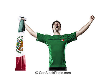 Mexican soccer player, celebrating on the white backgrond.
