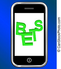 Bets On Phone Showing Online Or Internet Gambling