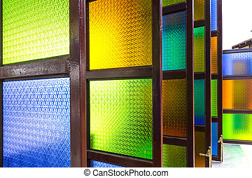 Glass windows, bright green, yellow, blue