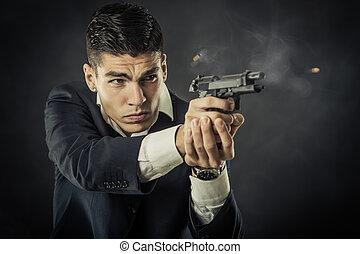 portrait, mafia, homme