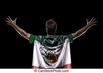 Mexican soccer player, celebrating on the black backgrond