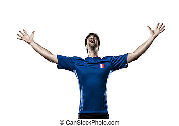 French soccer player, celebrating on the white background.