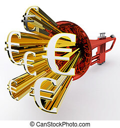 Euro Sign Shows European Bank Currency Or Wealth
