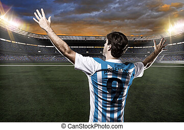 Argentinian soccer player, celebrating with the fans