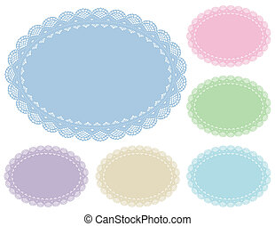 Lace Doily Placemats, Pastels - Lace Doily Place Mats,...