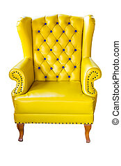 classical carved chair upholstered in leather
