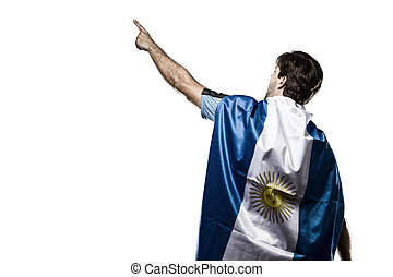 Argentinian soccer player, celebrating on the white...