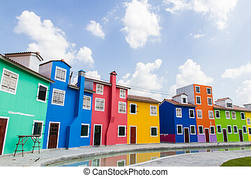 Houses painted in bright colors - Houses painted in bright...