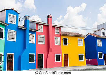 Houses painted in bright colors