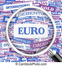 EURO. Word cloud illustration. Tag cloud concept collage.