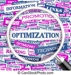 OPTIMIZATION Word cloud illustration Tag cloud concept...