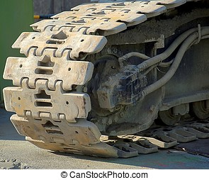 Heavy Duty Tracks of a Construction Machine - The massive...