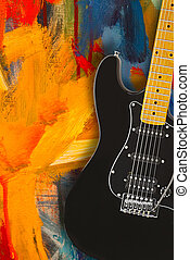 Black electric guitar over textured grunge background