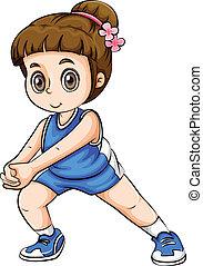 A Caucasian girl exercising