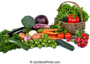 vegetables and basket - different seasonal vegetables market...