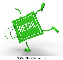 säljande, inköp, visande, försäljningarna, väska, uppköp, berätta, Handstående, handelsvaror