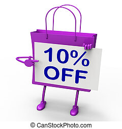 Ten Percent Reduced On Shopping Bags Shows 10 Promotions