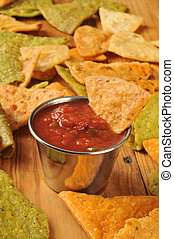 Fried tortilla chips and salsa - Fried vegetable tortilla...