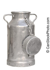 milk can - large metal milk can on white background