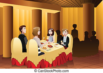 Family eating out in a restaurant - A vector illustration of...