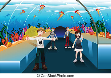 Kids looking at jellyfish - A vector illustration of kids...