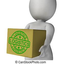 logística, caja, medios, embalaje, y, entregar,...