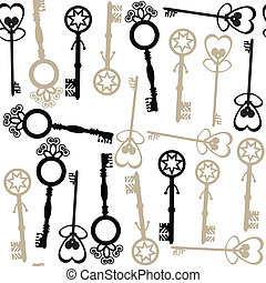 Old keys seamless pattern and seamless pattern in swatch...