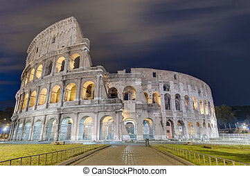 The Colosseum, or the Coliseum in Rome, Italy.