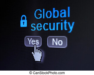 Privacy concept: Closed Padlock icon and Global Security on digital computer screen