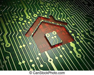 Finance concept: Home on circuit board background
