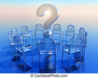 question mark - a circle of empty chairs ,question mark in...