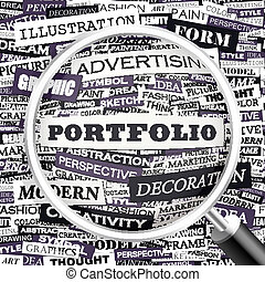 PORTFOLIO Word cloud illustration Tag cloud concept collage...