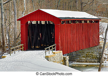 Cataract Covered Bridge and Snow - The red Cataract Falls...