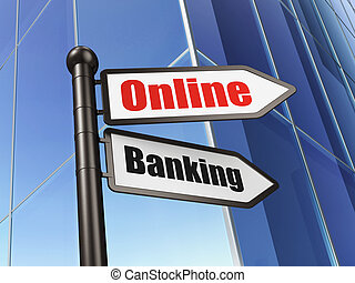 Business concept: sign Online Banking on Building background
