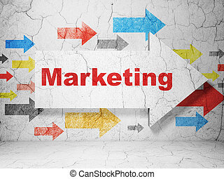 Advertising concept: arrow with Marketing on grunge wall background