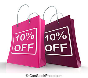 Ten Percent Off On Shopping Bags Shows 10 Bargains - Ten...