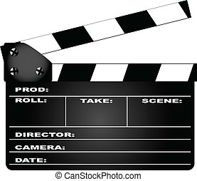 Clapperboard - A typical movie clapperboard isolated on...