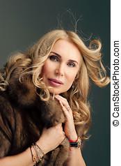 Beauty fashion woman in fur coat winter.