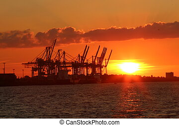 sunset - A sunset in a big harbor