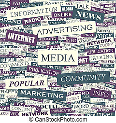 MEDIA. Seamless pattern. Concept related words in tag cloud....
